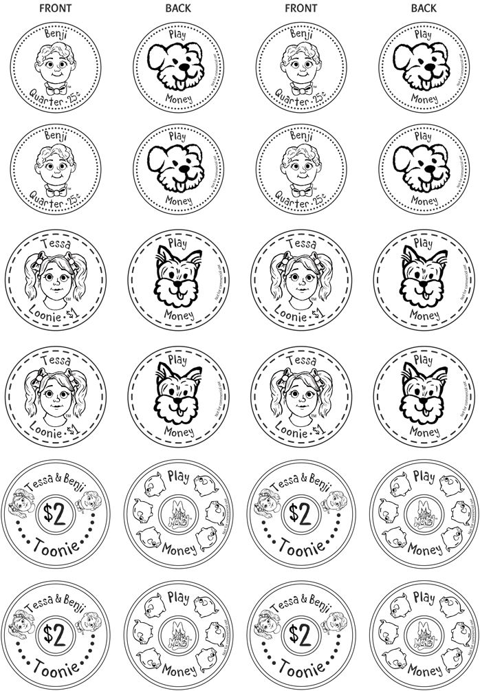 Colour, cut and paste your own play coins! Visit www.MisforMoney.ca to buy our books and for more free downloads and fun money stuff! #misformoney