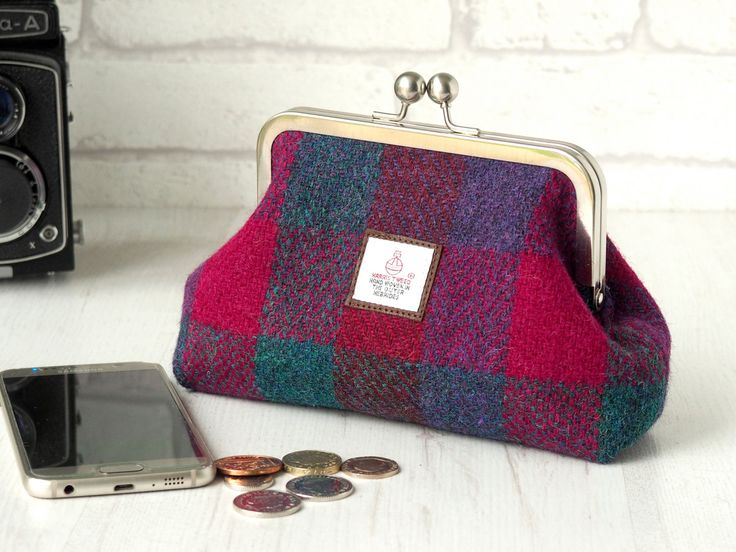 Harris Tweed clutch purse evening bag, red, purple and green check with cotton…