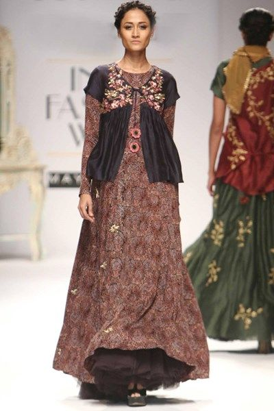 Anarkali, Clothing, Carma, Ajrak print anarkali with mirrorwork coaty