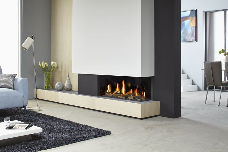 Awesome contemporary electric fireplace design for living room decoration with polished chrome floor lamp and tub shade also dark grey area rug plus grey fabric sofa