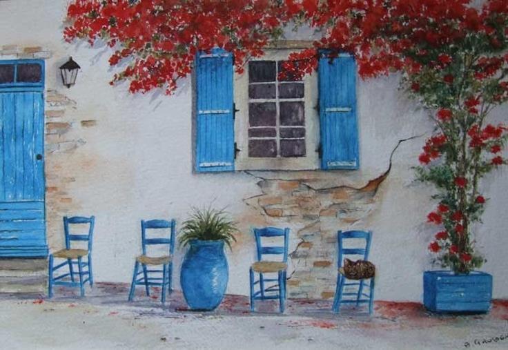 greek house & cat . Bergs art
