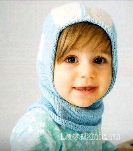Схема вязание спицами модели и схемы шапка-шлем для ребенка