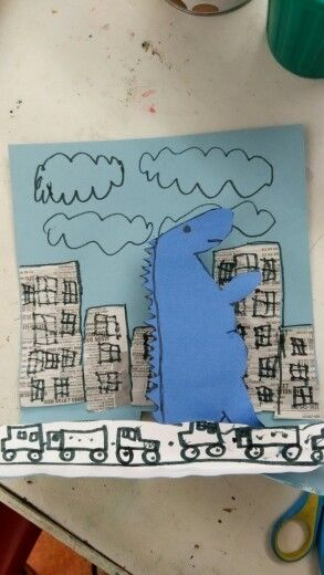 Kindergarten pop-out art.  Based on the book If the Dinosaurs Came Back.