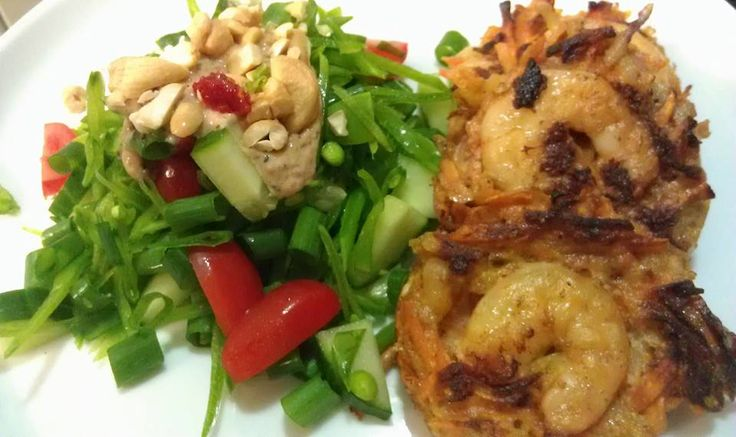 Day 27 * Dinner - Prawn and sweet potato fritters with snow pea salad and sunshine sauce