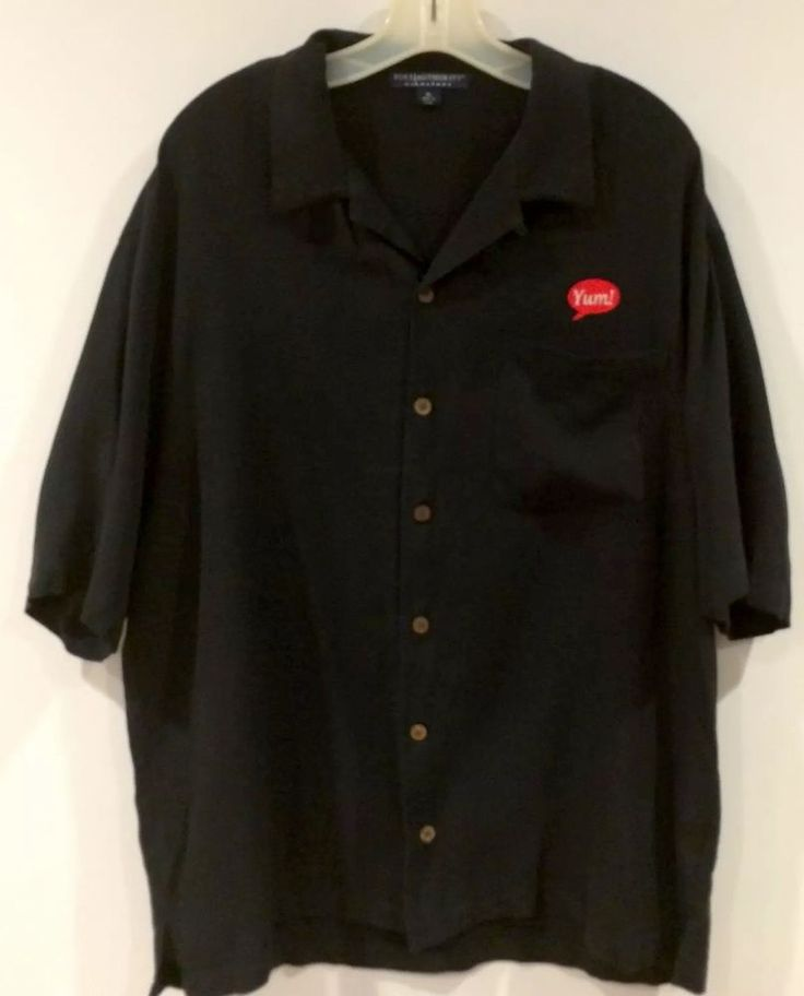 Yum Brands KFC Mens Silk Shirt Jet Black Port Authority Button Down Size XL  | eBay