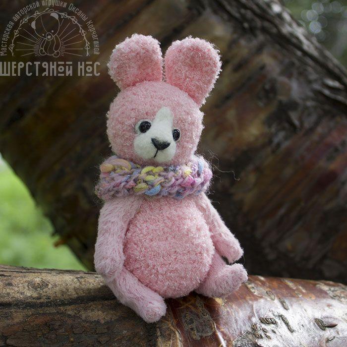 Розовая тедди-зайка