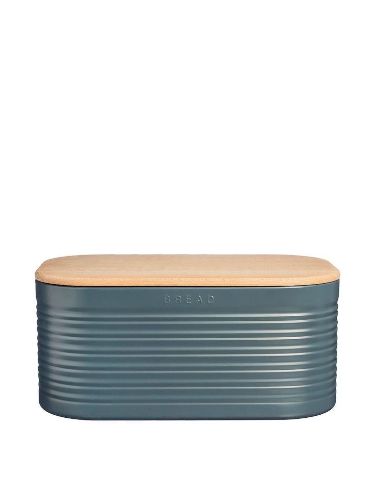 Typhoon Ripple Vintage Kitchen Slate Enamel Bread Bin Storage Tin 1