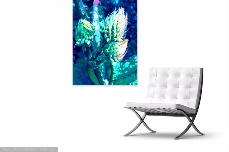 Budding Aloe Blue digital print by Rheta-Mari Kotze