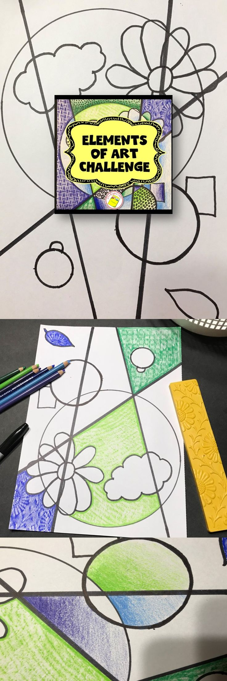 Elements of Art Activities for upper elementary and middle school students. Informational text and pictures from famous artists explain the elements and then challenge the 4th, 5th, 6th, 7th, 8th, and home school students to show what they learned in this fun art lesson. This is the companion set to my very popular Principles of Design Challenge. Check it out in my TPT store.