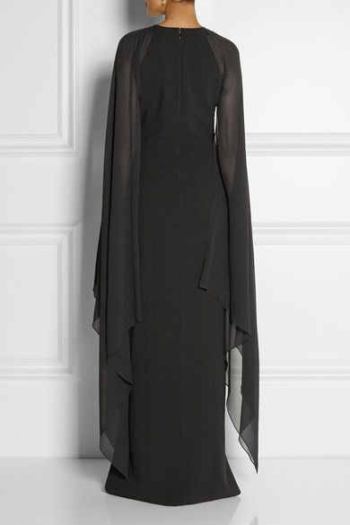 Black stretch-wool and silk-georgette Concealed hook and zip fastening at back 96% wool, 4% spandex; trim: 100% silk Dry clean
