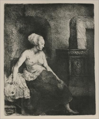 A Woman Seated Before a Dutch Stove - Rembrandt