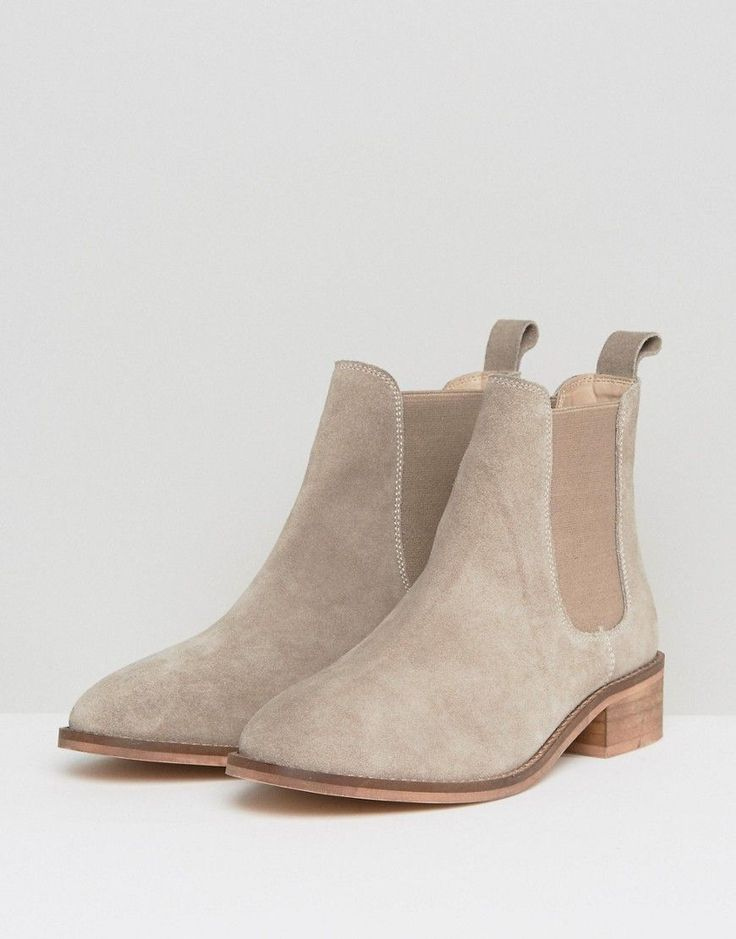 ASOS ABSOLUTE Suede Chelsea Ankle Boots - Beige