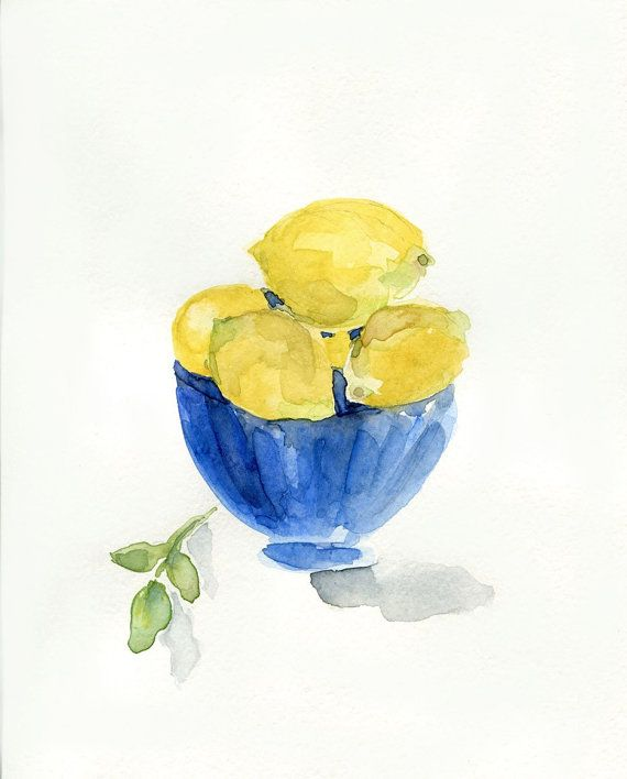 Lemons in Blue bowl, art print of still life  watercolor painting, limited edition, Monaco Blue, Lemon Yellow, Mediterranean, kitchen art