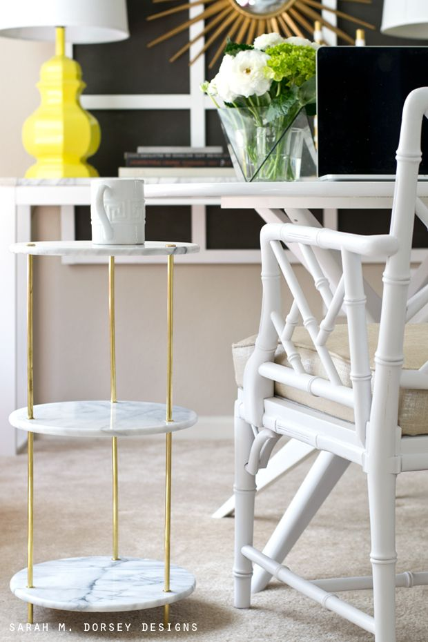 sarah m. dorsey designs: Marble, Brass Side Table | Before + After