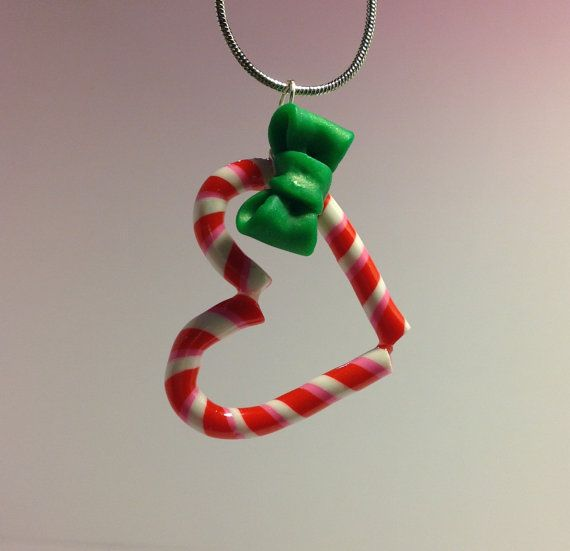 Candy Cane Heart Christmas Holiday Polymer Clay Charm. $9.00, via Etsy.