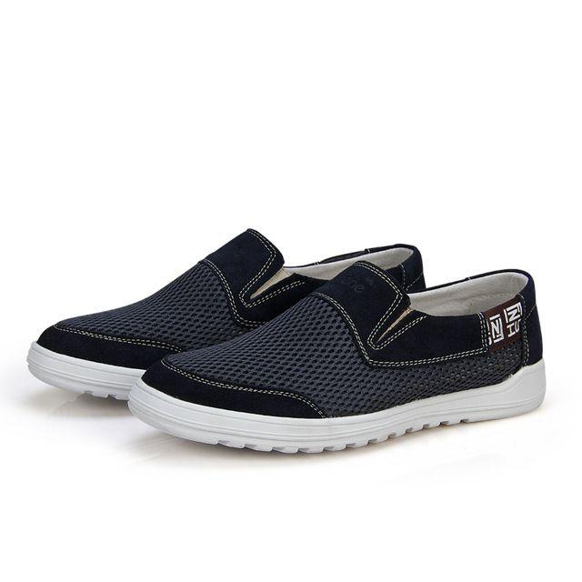 SERENO Hombres Zapatos de malla de Cuero de costura de Moda de Verano Holgazanes Cómodos de Los Hombres Ocasionales del slip-on Zapatos Suaves de fondo plano zapatos 9122