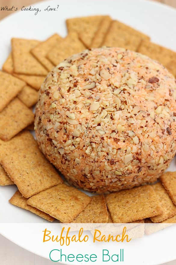 Buffalo Ranch Cheese Ball. This cheese ball combines the flavors of buffalo sauce and ranch dressing.