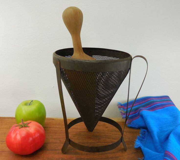 Old Steel Food Mill Cone Sieve Strainer and Pestle - Rustic Primitive Farm House