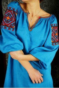 Плаття-сорочка блакитне з кишенями D07