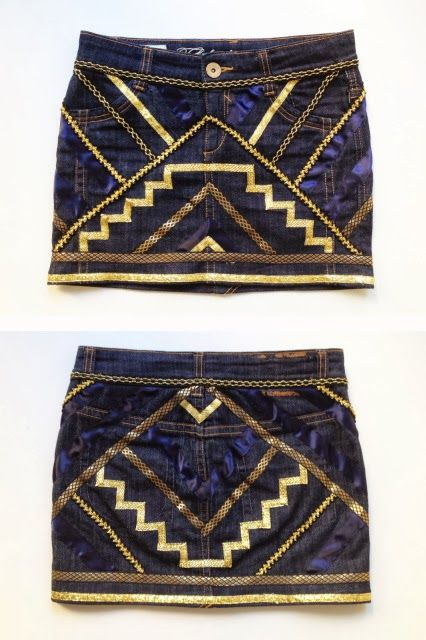 Sew various styles of gold trim onto a denim skirt for an art deco overhaul.