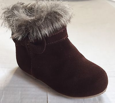 Janie And Jack Toddler Girl Boots 6 Brown Bow Faux Fur Trim  | eBay