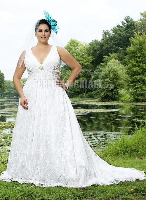 Robe du mariage satin dentelle col en v ruche applique [#ROBE209995] - robedumariage.com