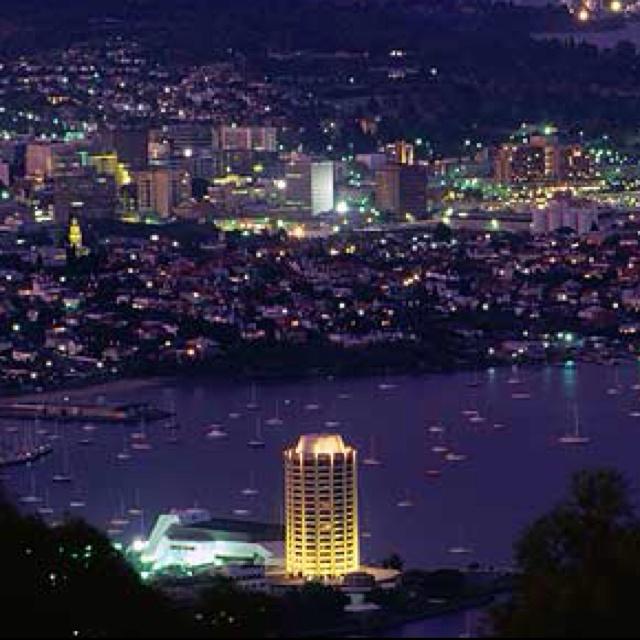 Hobart, Tasmania, at night, (Summer '02, study abroad)
