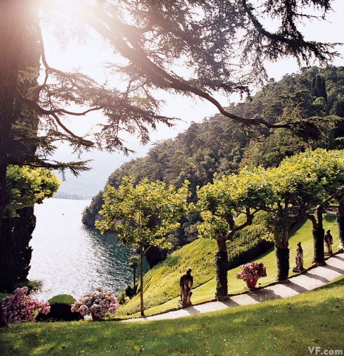 The gardens at Villa del Balbianello, Lake Como, photo by Jonathan Becker via Vanity Fair