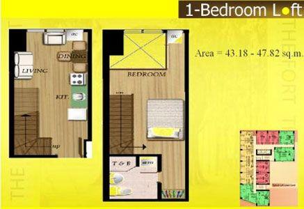 Fort Residences - 1-Bedroom Loft Unit Floor Plan #fortresidences #manilacondo #condominium #bestcondo http://www.mymanilacondo.com/