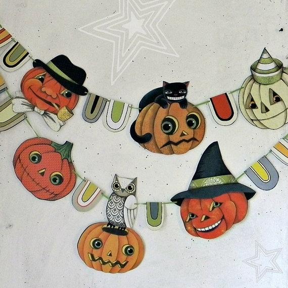 Halloween Jack O'Lantern Banner, DIY. -- Cart Before the Horse -- Etsy.: Pumpkin Jack, Art Diy, Bunting Ornaments, O Lantern Banner, Halloween Pumpkins, Jack O'Connell