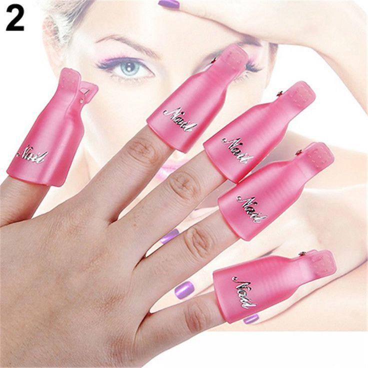 10 Piezas De Plástico De Arte De Uñas Soak Off Clip PAC Uv Gel Removedor De Esmalte Wrap herramienta hágalo usted mismo