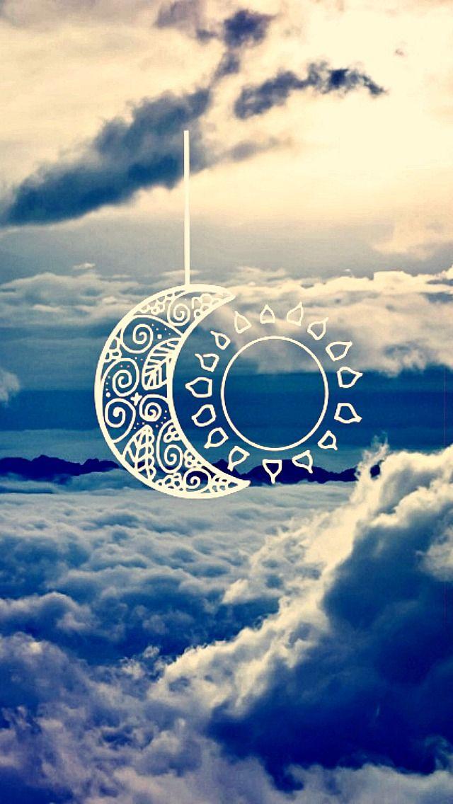 walpaper nuvens sol e lua