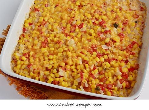 Video recipe for baked corn with diced tomatoes and chilies. #recipe #corn: Side Dishes, Creamy Baking, Vegetables Recipe, Maine Dishes, Yummy Food, Andrea Meyers, Spicy Creamy, Food Recipe, Baking Corn Oh