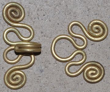 brass wire clasps - 14, 16, or 18 Cut two pieces of wire -30 cm long; first one, form a U-shaped bend in the center; coil it into a loop; second wire, form a flat loop in the center; Form two tight S-curved flat loops on each wire; Clip the ends of the wire to your desired length for forming the spirals;;  Form the spirals; shape the hook and eye