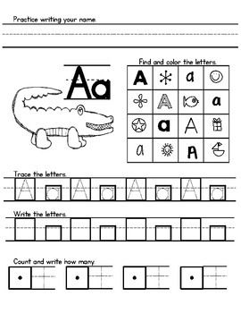 Zoo Phonics Morning Work ($4 - worksheets for writing name, letters and numbers that includes the zoo phonics animals)