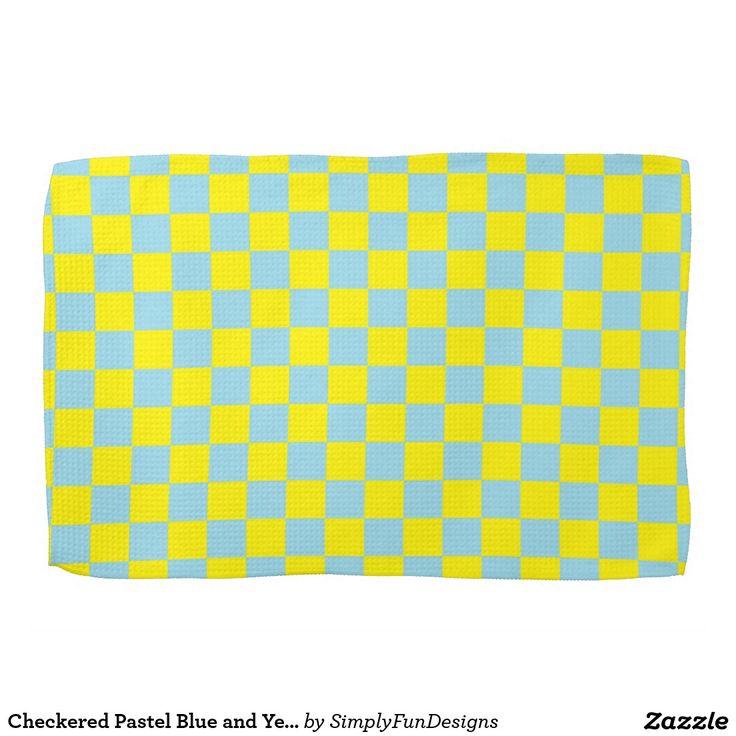 Checkered Pastel Blue and Yellow Hand Towel