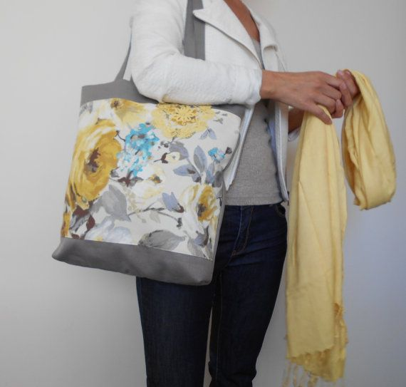 Yellow Floral Tote Bag Canvas Shoulder bag by MyLacyBoutique