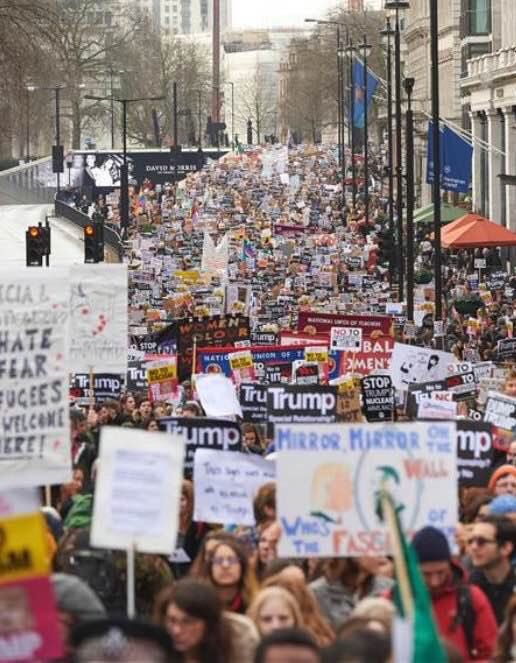 London's anti-Trump protest yesterday at the US embassy. Truly unbelievable
