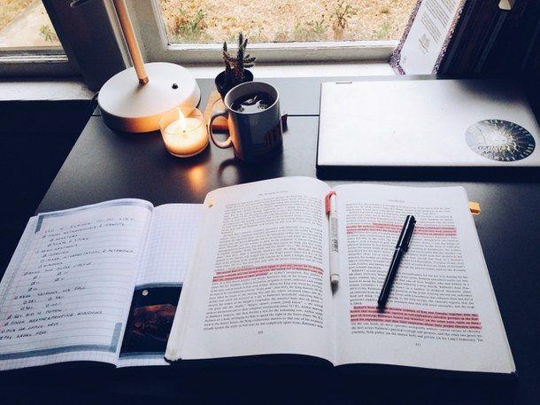 book, desk, and motivation image