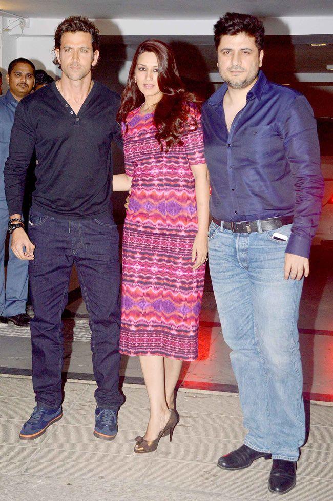 Hrithik Roshan with Sonali Bendre and Goldie Behl at Karan Johar's birthday bash. #Style #Bollywood #Fashion #Beauty