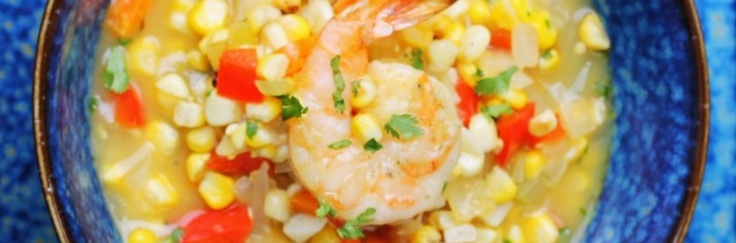 roasted corn chowder with grilled shrimp | Eat, Drink & be Merry | Pi ...