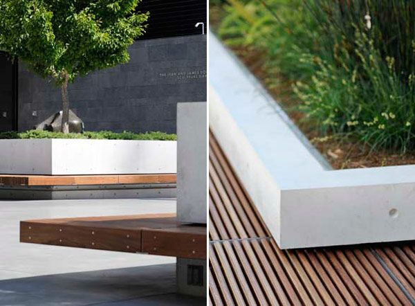 contemporary bench and planter || modern landscaping design plastolux CMG