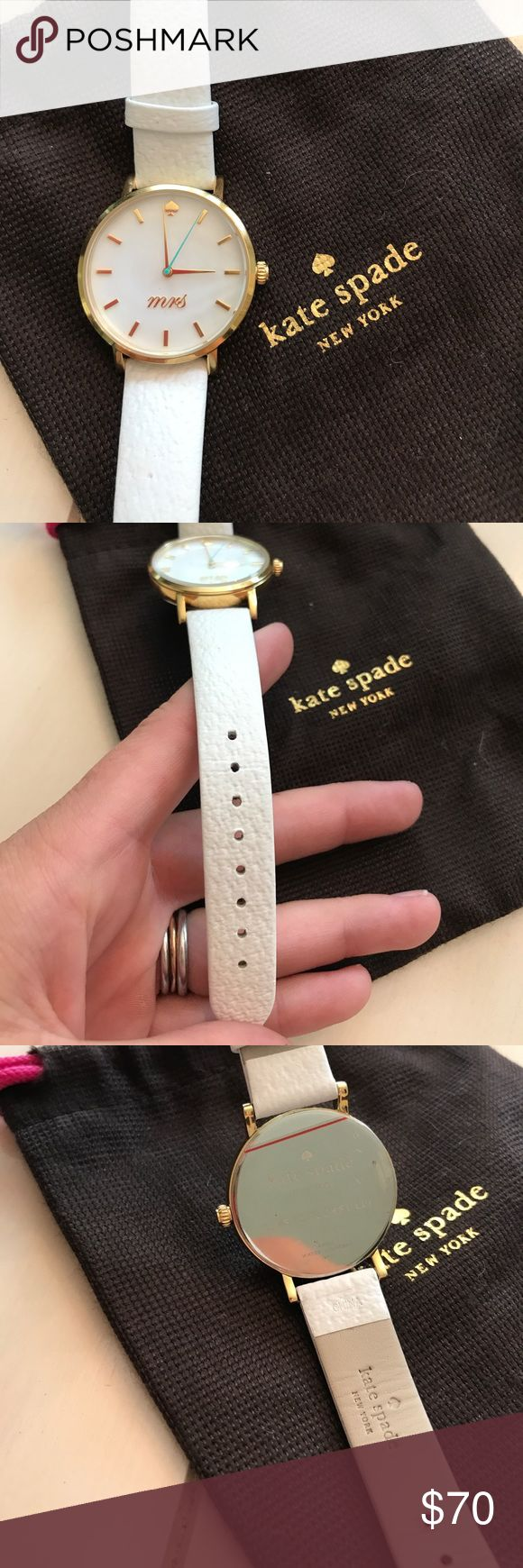 NWOT Kate Spade Mrs. Watch NWOT Kate Spade Mrs. Watch. NEEDS BATTERY! Never worn never used it's so cute. White w gold accents, Tiffany blue second hand kate spade Accessories Watches