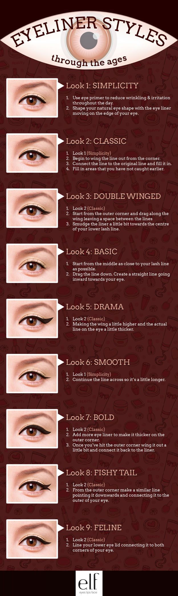 Eyeliner through the Ages | Simple Eyeliner Tutorials for Perfect Eyeliner Looks by Makeup Tutorials at http://makeuptutorials.com/makeup-tutorials-beauty-tips #slimmingbodyshapers   To create the perfect overall style with wonderful supporting plus size lingerie come see   slimmingbodyshapers.com