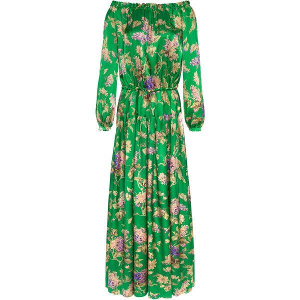 Adriana Iglesias Creek Maxi Dress (5,345 SAR) ❤ liked on Polyvore featuring dresses, green, silk maxi dress, off the shoulder dress, off shoulder maxi dress, sleeved dresses and maxi dress