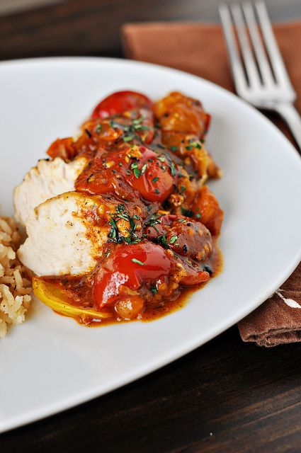 Chicken with Tomato Herb Pan Sauce and Garlic Rice Pilaf: Chicken, Pan Sauce, Herbs, Sauces, Food, Tomato Herb, Herb Pan, Tomatoes