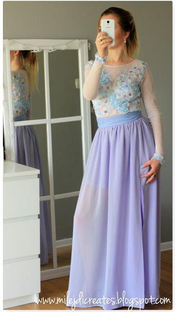 Violet long dress, DIY Fioletowa SUKNIA - body + spódnica. Efekt kilku miesięcy pracy