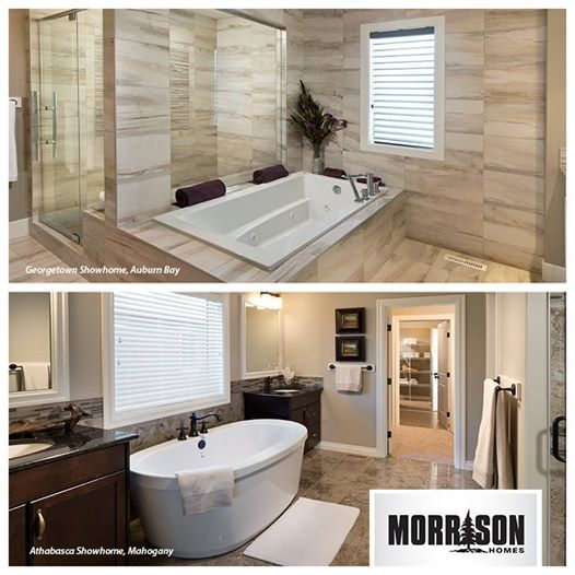 We have a soothing, spa inspired ensuite with a built-in tub and luxury shower for THIS or a rounded stand alone tub with his and her vanities, in a more traditional ensuite for THAT.   What's your pick?