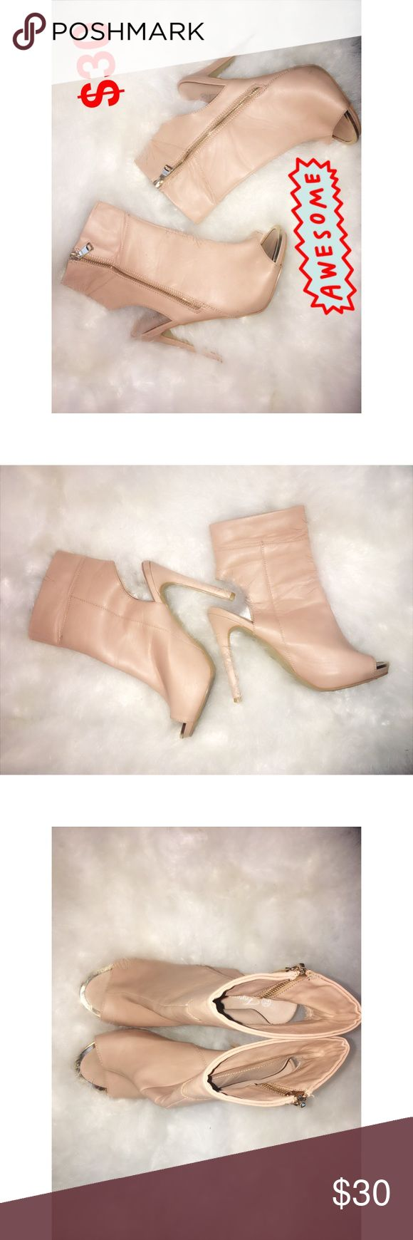Kim K Nude Ankle Boots ✨ These are nude (very light pink), almost new like boots, they look great with EVERYTHING ! Around the tip of the toes is a shiny gold, no scratchy or marks ✨ Shoes Ankle Boots & Booties