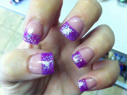 231 best purple nails images on pinterest nail arts nail glittery purple french tips prinsesfo Image collections